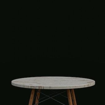 White marble table or product stand for display product on black background