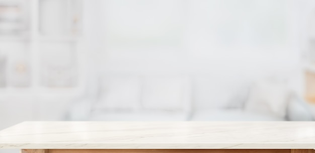 White marble table top for product display montage in living room