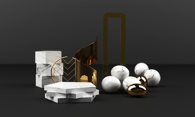 白い大理石のテクスチャの幾何学的形状とガラスオブジェクトグループセット3 dレンダリングの抽象的なシーンの空白の表彰台とステンレスとゴールド