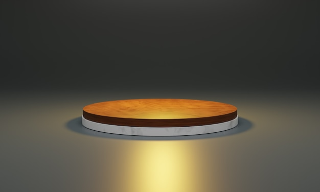 White marble with wood top. scene for new product, minimal design podium, product stand, showcase, 3d illustration