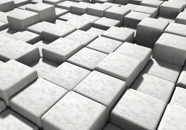 White masonry cement block and stone background. architecture and abstract concept perspective view. 3d illustration rendering