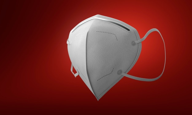 White medical mask with filter on gradient red background