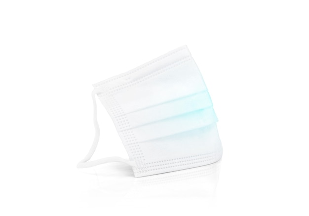 White medical protective face mask for good hygiene isolated on white background with clipping path