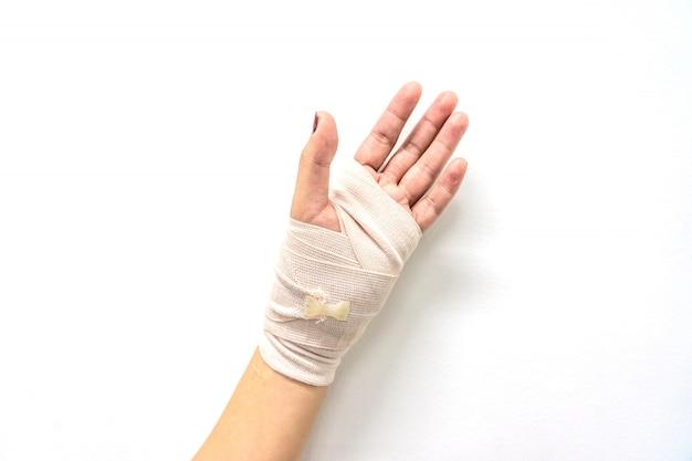 White medicine bandage on injury hand