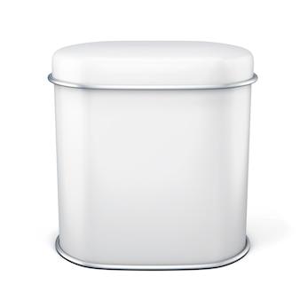 Белая металлическая банка для чая