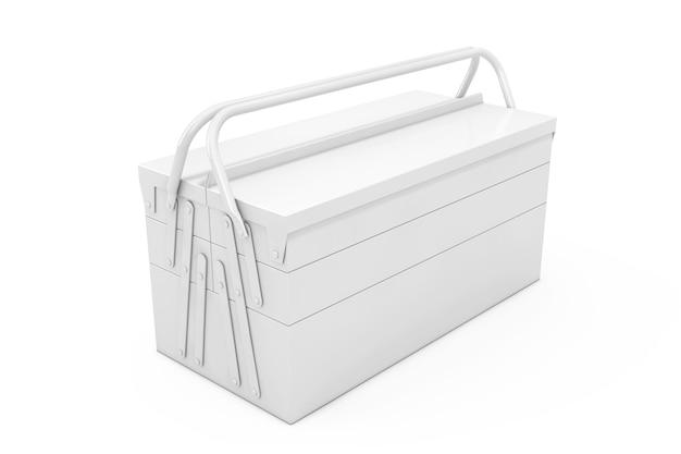 Белый металлический классический ящик для инструментов в стиле глины на белом фоне. 3d рендеринг