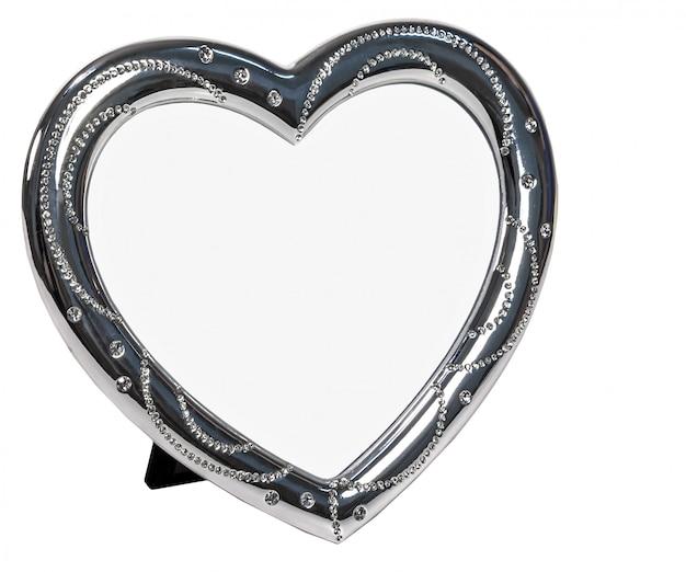 White metal photo frame with hearth shape