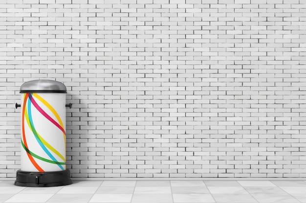 Белый металлический мусорный бак с педалью перед кирпичной стеной. 3d-рендеринг.