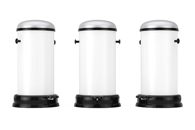 Белый металлический мусорный бак с педалью на белом фоне. 3d-рендеринг.
