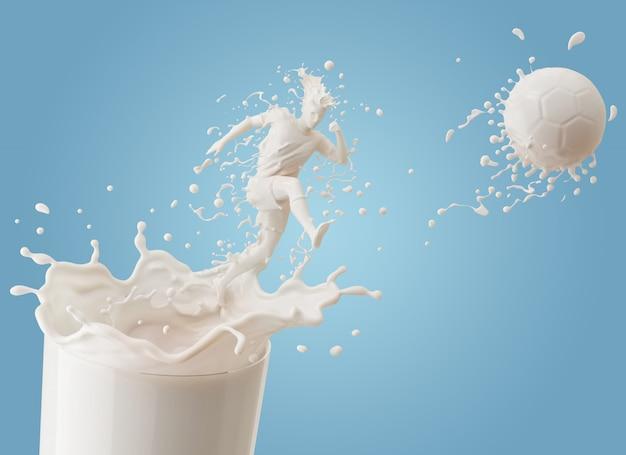 Белый всплеск молока в форме футболиста, пинающего мяч