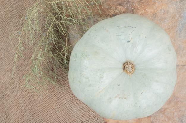 Белая мини-тыква на мешковине с растением.