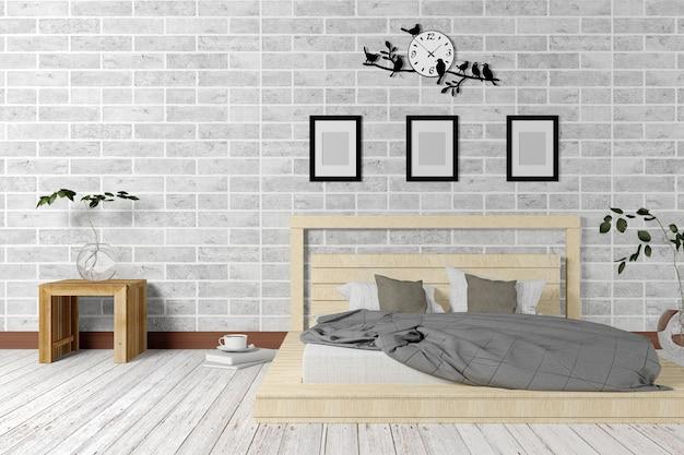 Белый интерьер с минимальным интерьером и мансардой