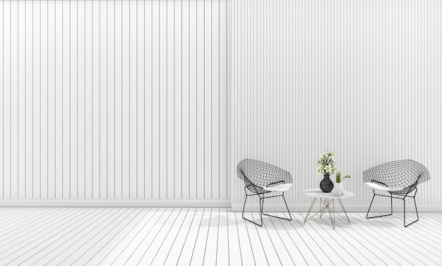 White minimal modern design chair with table