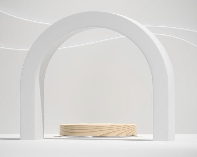 製品表示の背景 3 d レンダリングを広告するための白い最小限のプラットフォーム表彰台