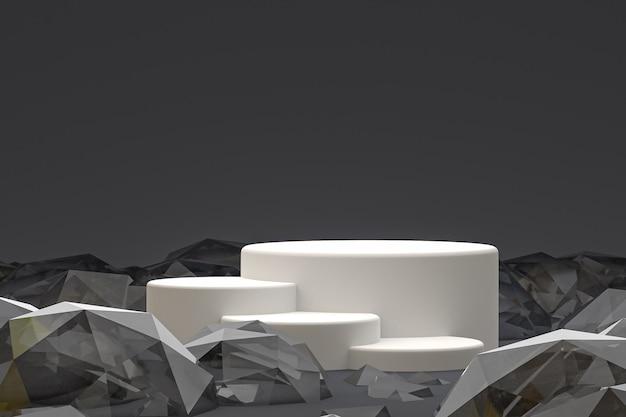 화장품 프리젠 테이션을위한 추상 검은 색 바탕에 흰색 최소한의 연단 또는 받침대 디스플레이
