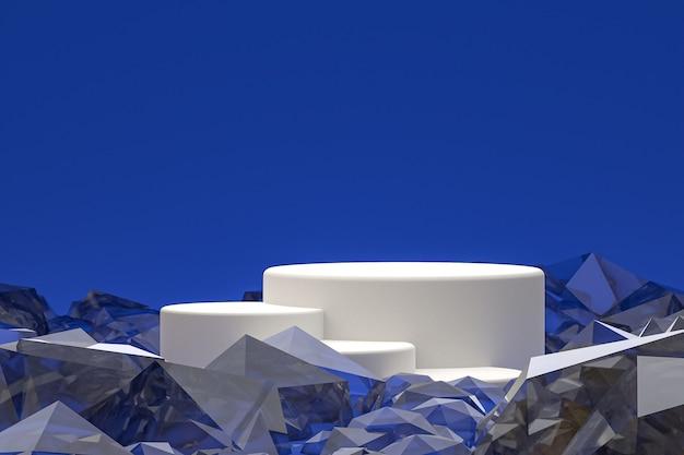 Белый минимальный подиум или пьедестал на абстрактном синем фоне для презентации косметической продукции