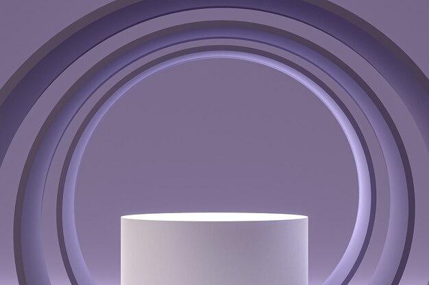 Белый минимальный подиум или пьедестал на абстрактном фиолетовом фоне для презентации косметической продукции