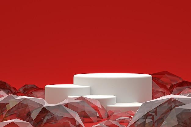 Белый минимальный подиум или пьедестал на абстрактном красном фоне для презентации косметической продукции
