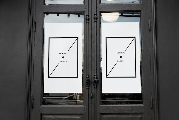 White minimal poster mockup on an old door