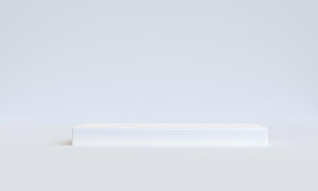 흰색 최소 스타일 3d 렌더링 모형 배경, 제품 표시를 위한 빈 선반 스탠드.