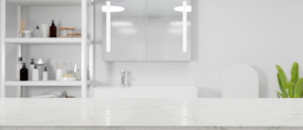 White minimalist empty marble tabletop for montage over modern bright bathroom interior
