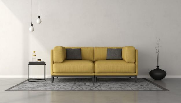 Белая минималистская гостиная с желтым диваном на сером ковре. 3d рендеринг