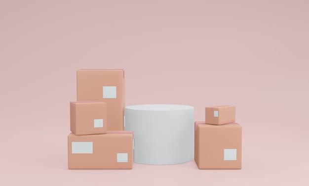 밝은 분홍색 배경에 골판지 상자로 둘러싸인 흰색 미니멀 연단 장면