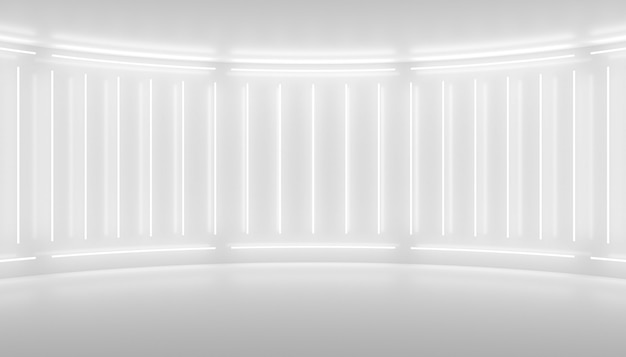 White minimalistic abstract 3d background neon light from lamps on the walls of the circular stage 3d illustration