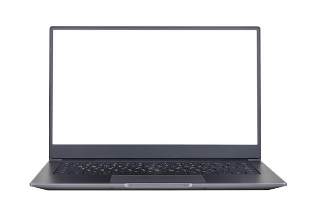 흰색 배경에 고립 된 노트북 화면에 흰색 모의 전면보기를 닫습니다.