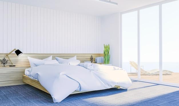 모의 벽에 복사 공간 흰색 현대 현대 침실 인테리어