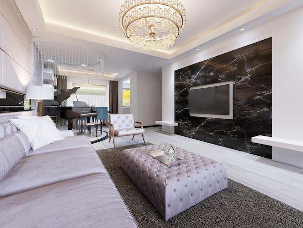 램프가 있는 흰색 현대적인 디자인의 주방입니다. 3d 렌더링