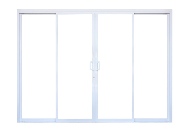 White modern double glass door window frame front store isolated on white background