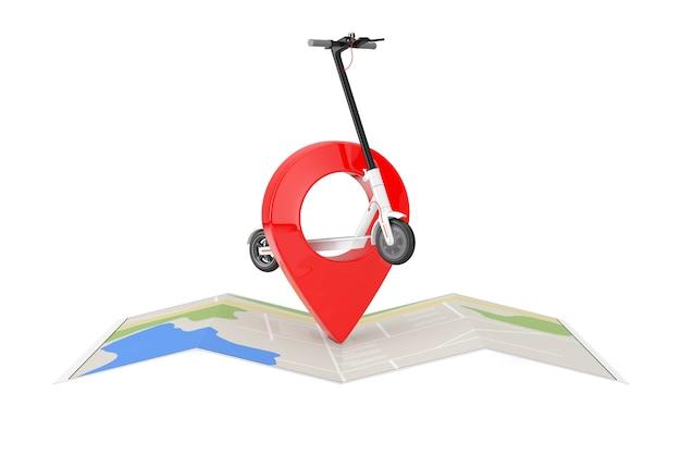 흰색 배경에 도시 지도 위에 빨간색 지도 포인터 핀이 있는 흰색 현대 에코 전기 킥 스쿠터. 3d 렌더링