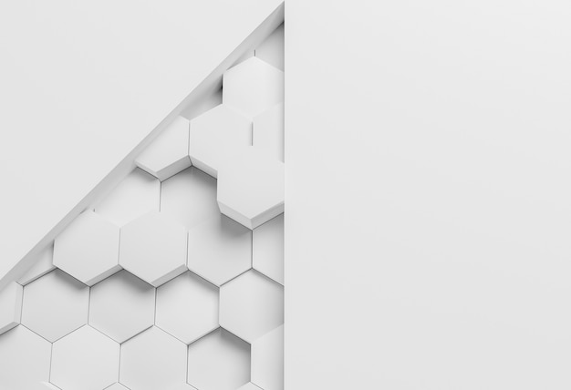 White modern geometrical wallpaper with hexagons