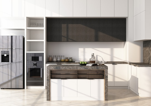 White modern kitchen on wooden floor and marble pantry 3d rendering