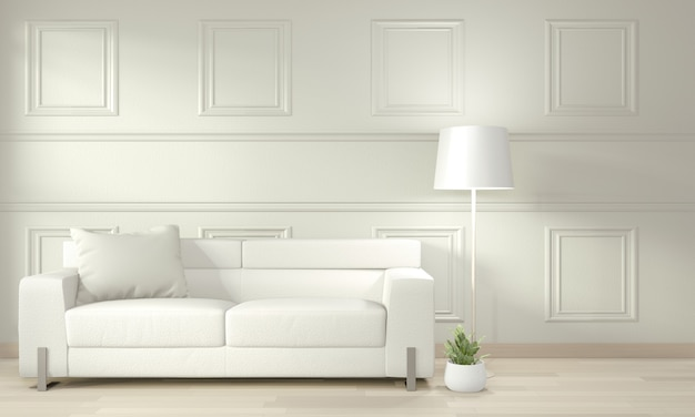 White modern living room mock up interior design