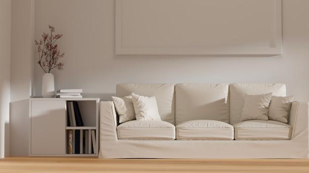 Белая современная минималистская гостиная, удобный диван, рамка для плаката, макет на стене, интерьер, 3d-рендеринг