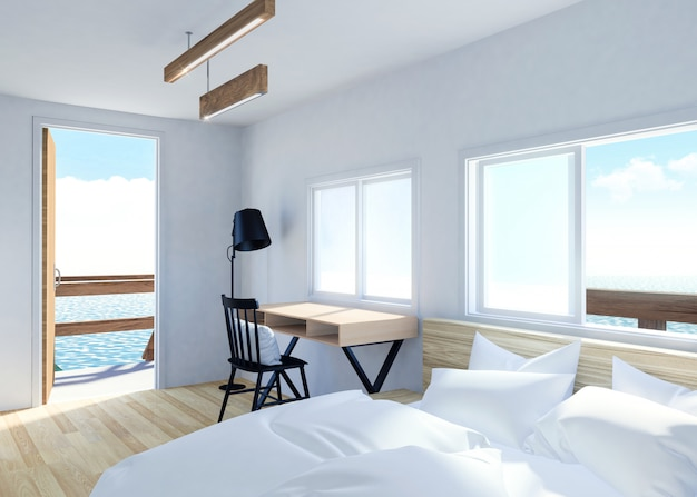 White modern room interior with terrace and sea view in villa resort, 3d rendering