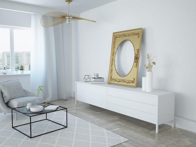 Белая современная скандинавская гостиная