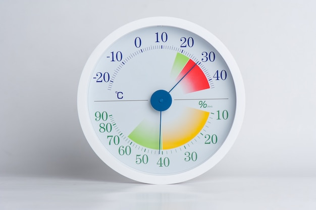 White modern style of analog thermometer and hygrometer