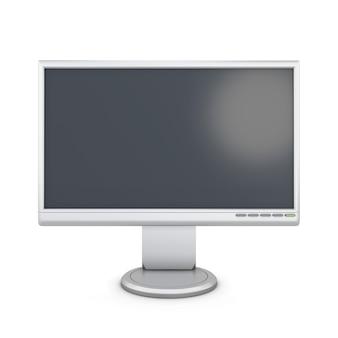 White monitor isolated on white background. 3d illustration.