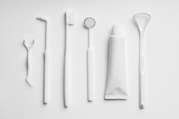 White and monotone color dental care & toothbrush set for clean concept