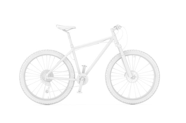 Белый горный велосипед в глиняном стиле на белом фоне. 3d рендеринг