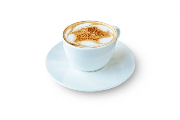 White mug of latte coffee isolated on white background. file contains with clipping path so easy to work.