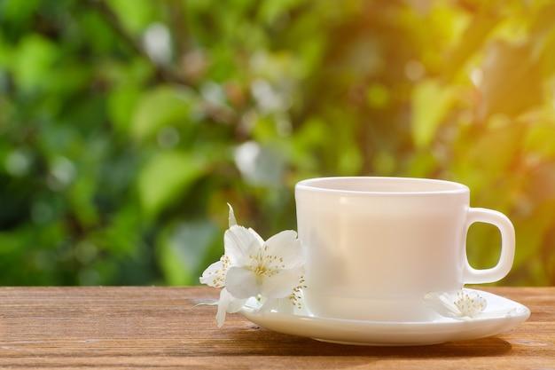 White mug of tea with jasmine on greenery, sunlight.