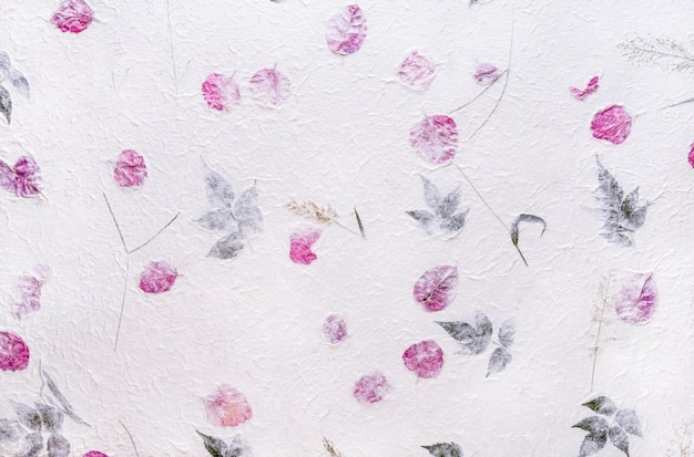 White mulberry paper with the texture of flowers and foliage is used as a background.