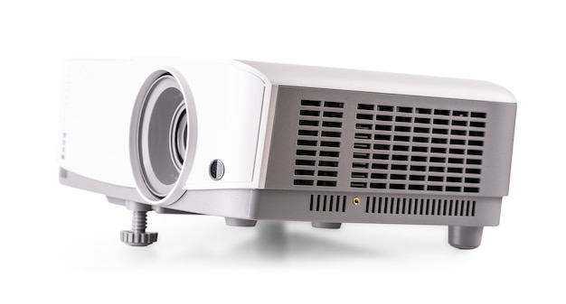 The white multimedia projector isolated on white background