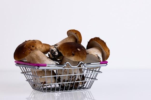 ショッピングカートの白い背景に白いキノコ、森、野生、キノコ、boletusedulis。スペースをコピーします。