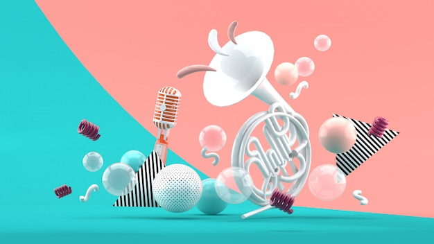 White musical instruments amid colorful balls on blue and pink. 3d render.