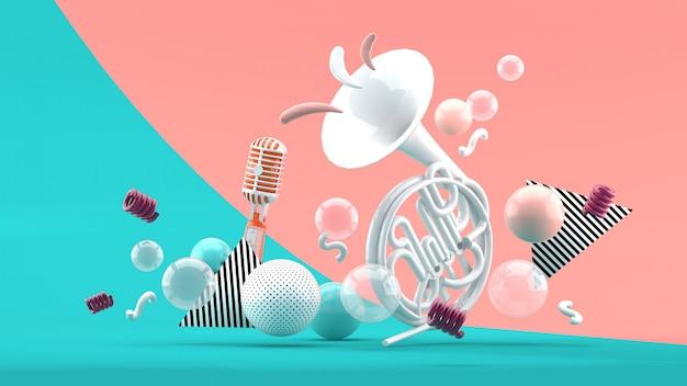 Белые музыкальные инструменты на фоне разноцветных шариков на синий и розовый. 3d визуализация.